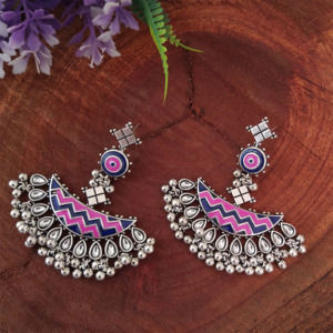 German Silver Meena Work Earrings