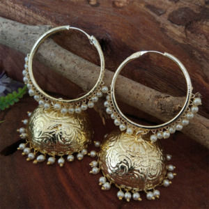 Gold Toned Jhumka with Pearl Bali