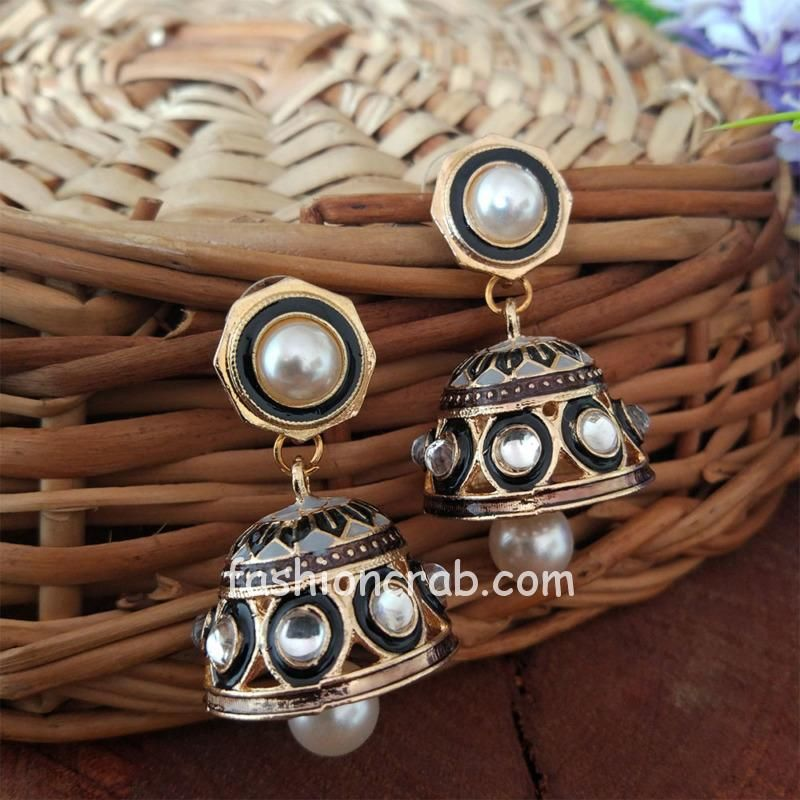 Gray Colour Jhumka Earrings with Pearl