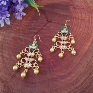 Green Meenakari Pearl Earrings