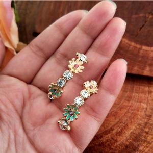 Half Hoop Flower Earring for Girls