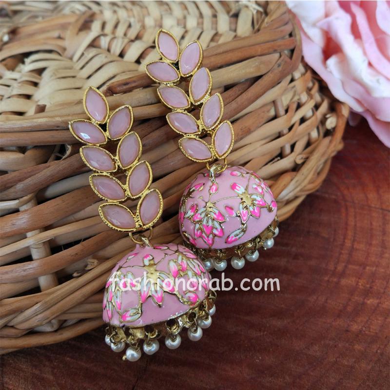 Lemonade Pink Enamel Fusion Jhumka Earring