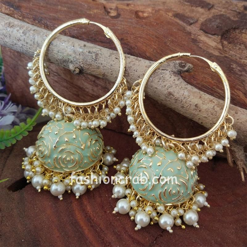 Mint Green Colour Heavy Jhumka Bali for Saree