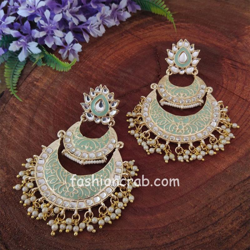 Mint Green Enamel Kundan Chandbali Earrings for Wedding