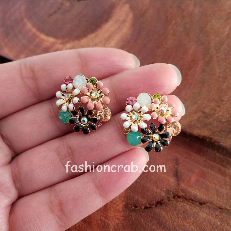 Multi Coloured Flower Studs