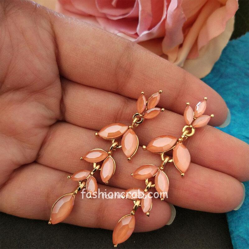 Peach Color Crystal Earrings