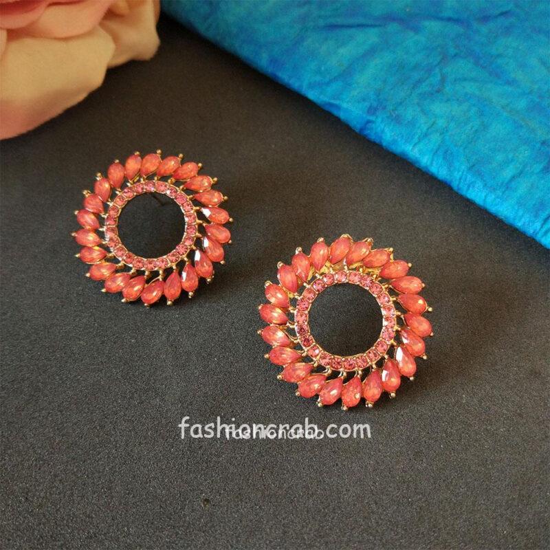 Peach Colour Stylish Studs