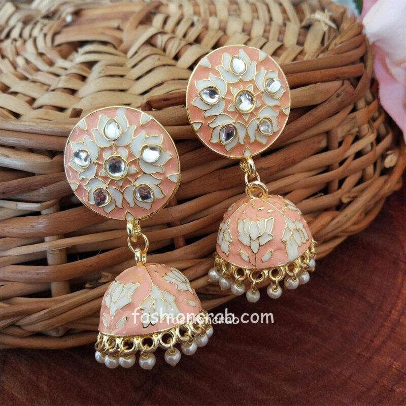Peach Meenakari Jhumka Earring