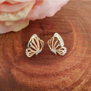 Pink Butterfly Crystal Studs