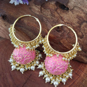Pink Colour Heavy Jhumka Bali for Saree