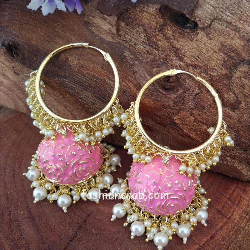 Pink Colour Heavy Jhumka Bali for Saree