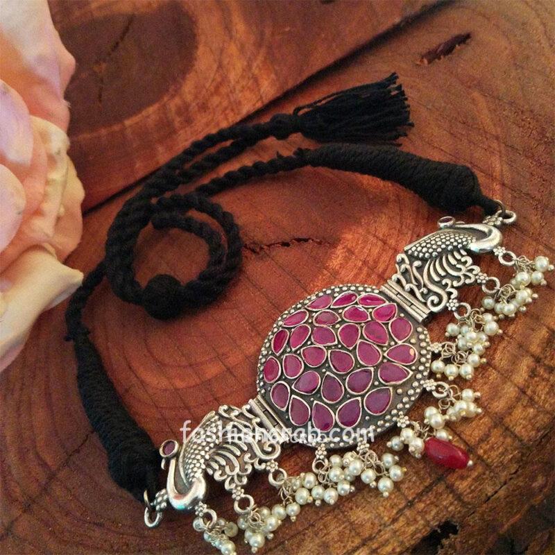 Pink Stone Choker Statement Necklace