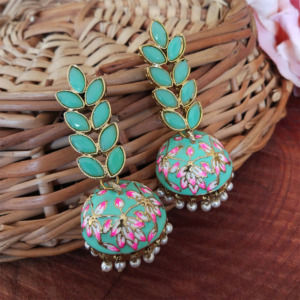 Sea Green Enamel Fusion Jhumka Earring