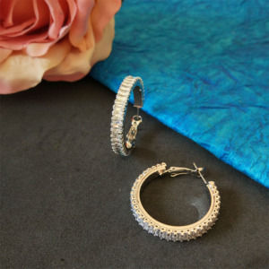 Silver Color CZ Hoop Earrings
