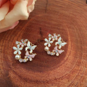 White Pink Butterfly Circular Stud Earrings