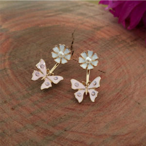 White Pink Butterfly Studs