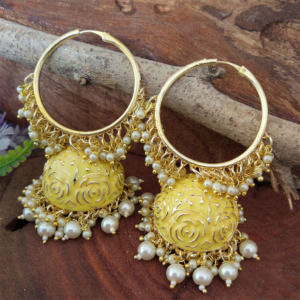 Yellow Colour Heavy Jhumka Bali for Saree