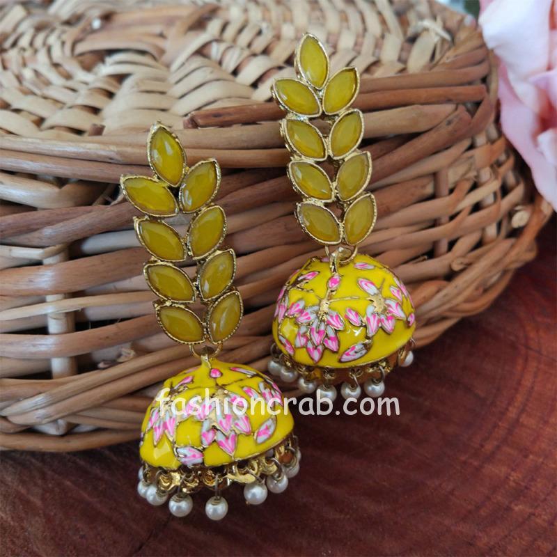 Yellow Enamel Fusion Jhumka Earring
