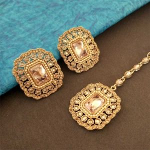 Big Stud Earrings with Maang Tikka for Women