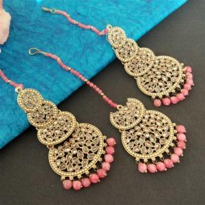 Coral Pink Pearl Kundan Stone Maangtikka Earring Set for Dulhan