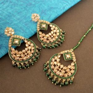 Dark Green Color Ethnic Maang Tikka Set with Earring for Party