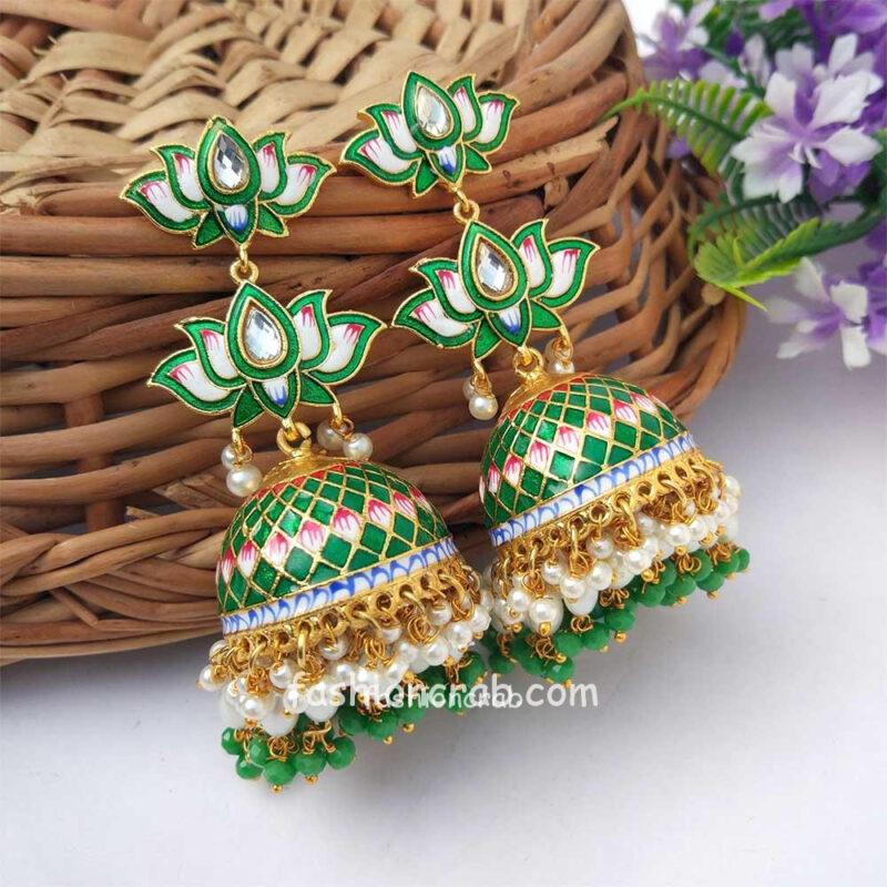 Dark Green Meenakari Lotus Jhumka Earring for Wedding