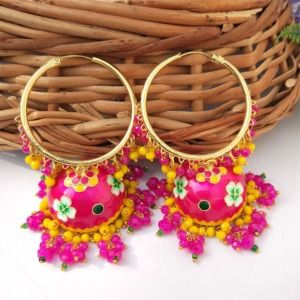 Dark Pink Meenakari Jhumka with Golden Bali Earrings