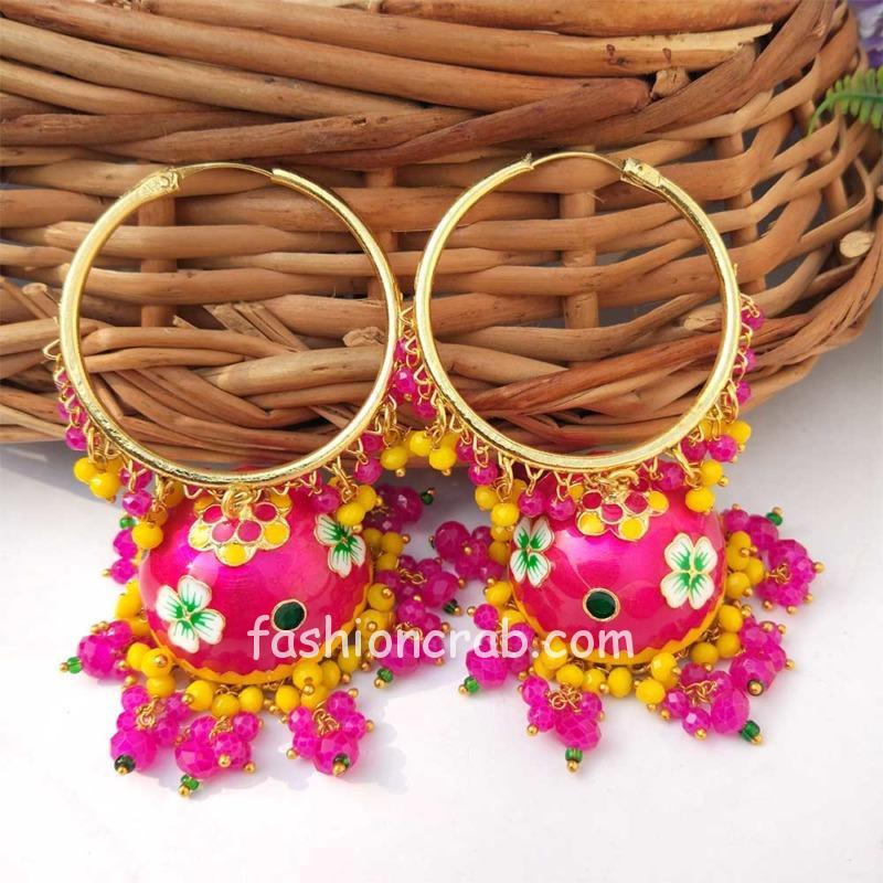 Dark Pink Meenakari Jhumka with Golden Bali Earrings