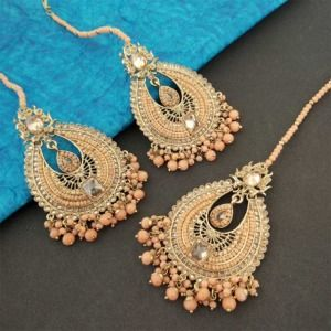 Gold Toned Handcrafted Peach Pearl Earring Set with Maangtikka