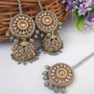 Grey Colour Jhumka Earring with Tikka for Bride