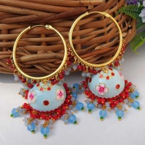 Light Blue Meenakari Jhumka with Golden Bali Earrings