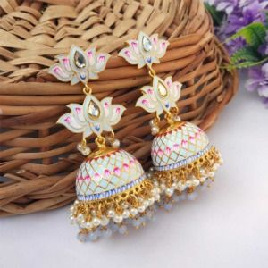 Light Blue Meenakari Lotus Jhumka Earring for Wedding