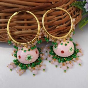 Light Pink Meenakari Jhumka with Golden Bali Earrings