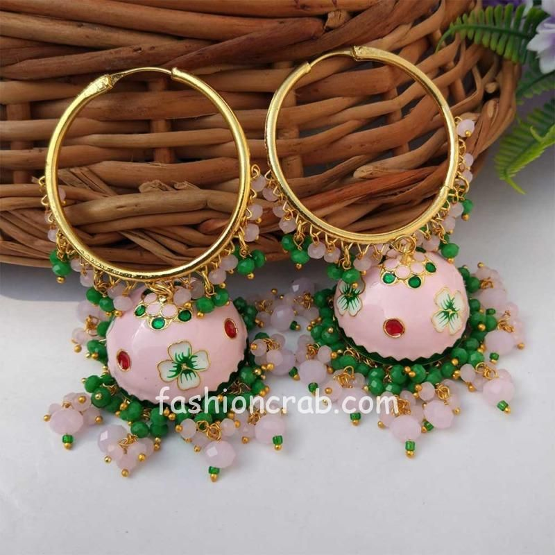 Light Pink Meenakari Jhumka with Golden Bali Earrings