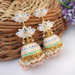 Light Pink Meenakari Lotus Jhumka Earring for Wedding