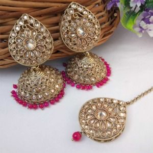 Magenta Colour Jhumka Earring with MaangTikka for Women