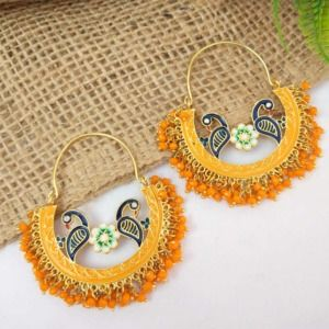 Orange Pearl Hoop Earrings for Lehenga