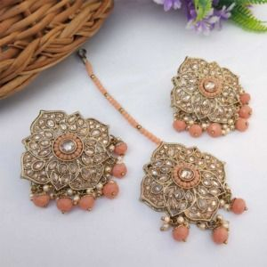 Peach Colour Stud Earrings with Maang Tikka for Party
