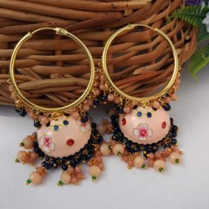 Peach Meenakari Jhumka with Golden Bali Earrings