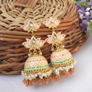 Peach Meenakari Lotus Jhumka Earring for Wedding