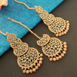Peach Pearl Kundan Stone Maangtikka Earring Set for Dulhan