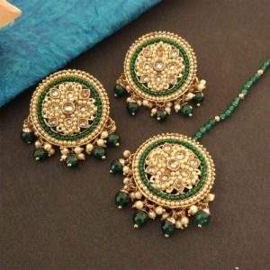 Round Dark Green Color Maang Tikka Set with Earring for Women