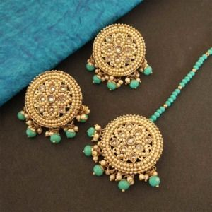 Round Sea Green Color Maang Tikka Set with Earring for Women