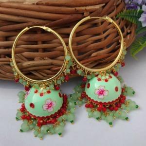 Sea Green Meenakari Jhumka with Golden Bali Earrings