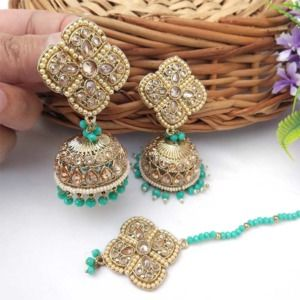 Sea Green Pearl Jhumka Set with Maangtikka