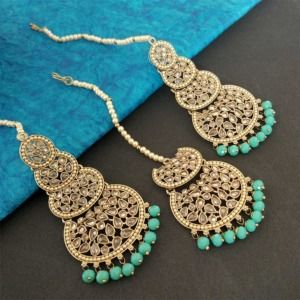 Sea Green Pearl Kundan Stone Maangtikka Earring Set for Dulhan