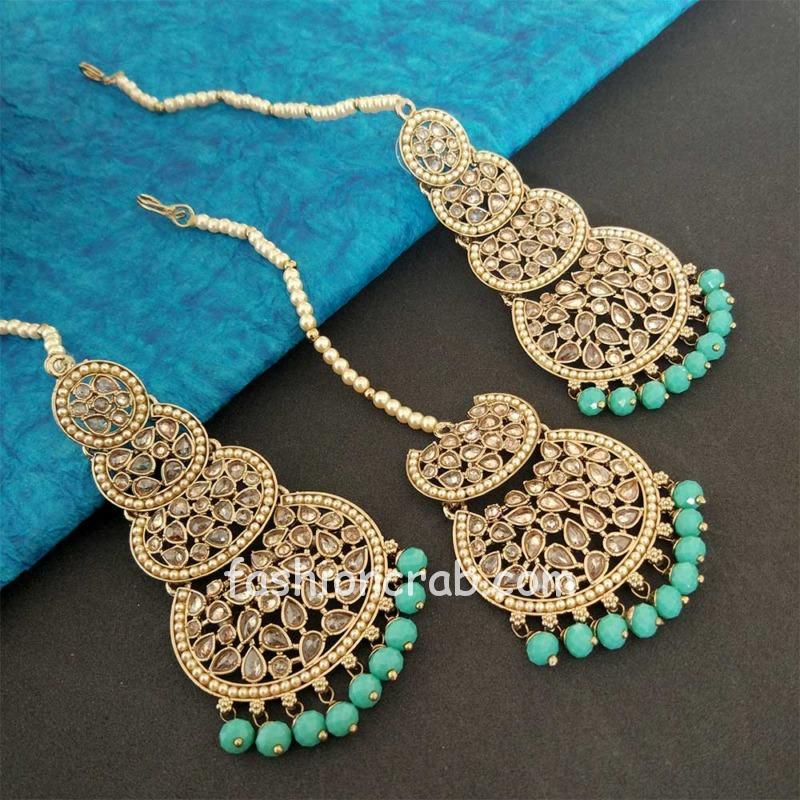 Sea Green Pearl Kundan Stone Maangtikka Earring Set for Dulhan