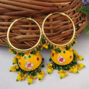 Yellow Meenakari Jhumka with Golden Bali Earrings
