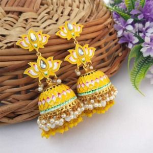 Yellow Meenakari Lotus Jhumka Earring for Wedding