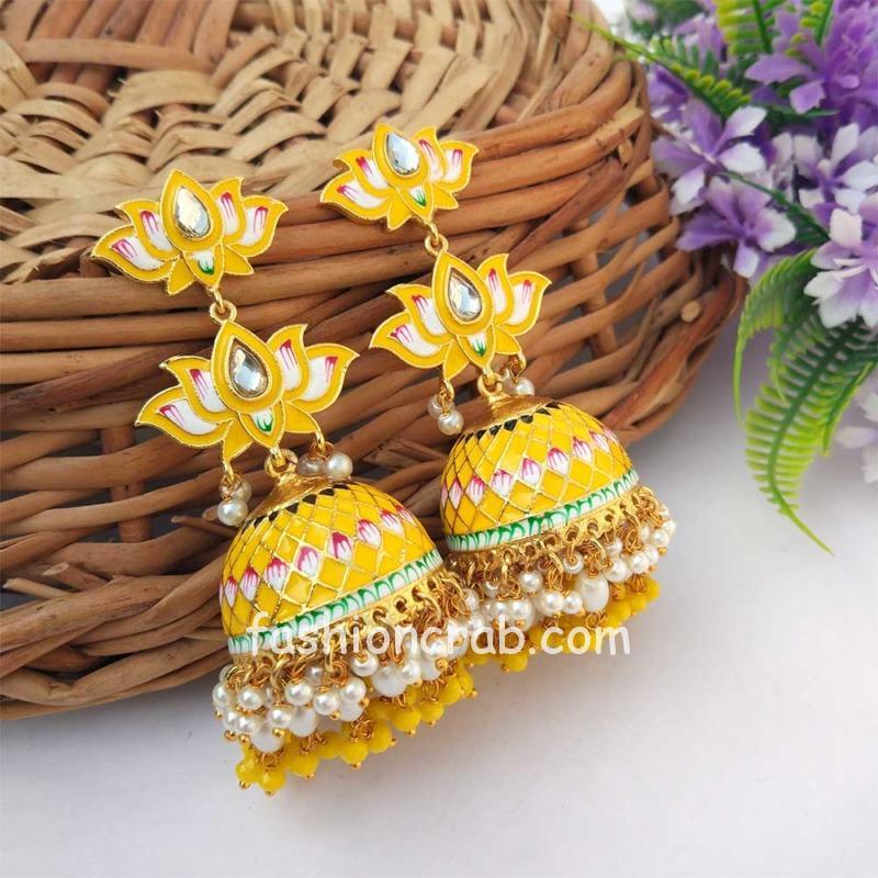 Yellow Meenakari Lotus Jhumka Earring for Wedding